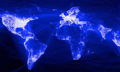 خريطة قارات العالم موضع عليها بالأجزاء المضيئة عدد مستخدمي الفيسبوك وكثافة اتصالهم ببعضهم البعض