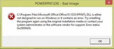 النافذة التي تظهر عندما يحاول المستخدم تشغيل البرنامج وهي تظهر عدم قدرة الباور بوينت علي العمل
