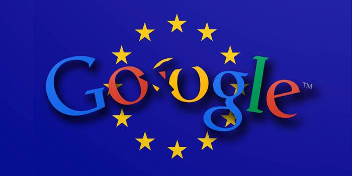 شعار جوجل أمام علم الاتحاد الأوربي