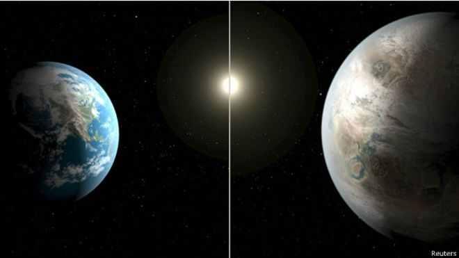 الكوكب الجديد (الى اليسار) يشبه كوكب الأرض الى حد بعيد