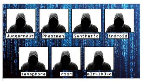 القراصنة التي قامت الشرطة الأمريكية بضبطهم - لاحظ الأسماء العجيبة التي استخدموها خلال نشاطهم الإجرامي علي الإنترنت