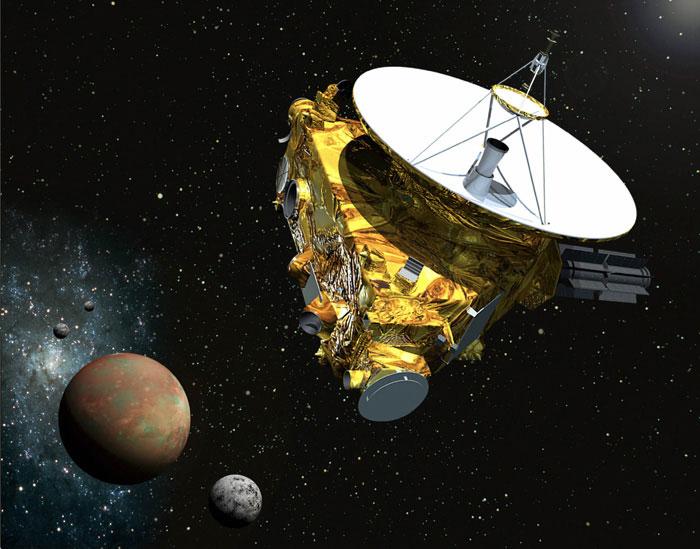 رسم جرافيك يوضح أقتراب سفينة الفضاء نيو هورايزون من كوكب عطارد و3 من أقمارة في صيف عام 2015