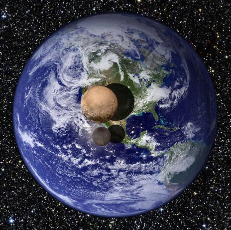 صورة توضح الفرق في الحجم بين كوكب بلوتو والقمر شارون أكبر الأقمار التي تدور حوله وكوكب الأرض