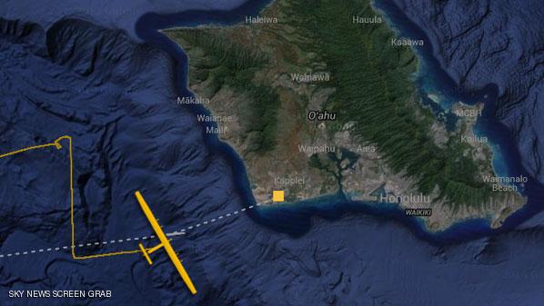 خط سير الطائرة سولار إمبلس2 قبل أن تحط في مطار كالايلوا بجزيرة أواهو