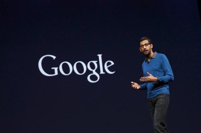 الرئيس التنفيذي الجديد لشركة جوجل ساندر بشاي يلقي كلمة في مؤتمر مطوري جوجل في سان فرانسيسكو - كاليفورنيا 28 مايوم 2015