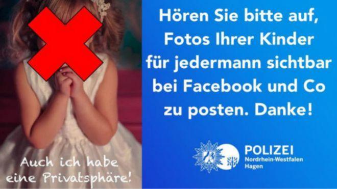 تضمنت رسالة تحذير الشرطة صورة تذكر الأطفال بأن صور أطفالهم يمكن مشاهدتها على نطاق واسع