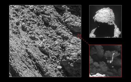 صورة التقطتها كاميرات عالية الدقة بمركبة الفضاء رشيد (روزيتا) تظهر مكان المسبار الفضائي فيلة الذي هبط على مذنب قبل نحو عامين