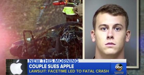 السائق المتورط في الحادث، جاريت ويلهلم، وسيارة أسرة الطفلة التي تحطمت نتيجة الأصطدام