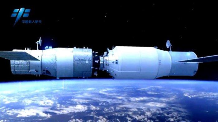 صورة لعملية الإلتحام المتوقعة بين المركبة تيانتشو 1 بمختبر الفضاء تيانجونج 2