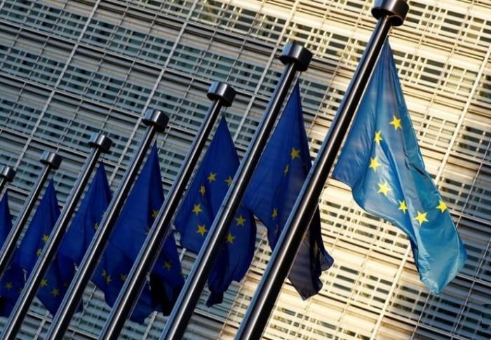 أعلام الاتحاد الاوروبي خارج مقر المفوضية الاوروبية في بروكسل في صورة بتاريخ 14 نوفمبر 2018