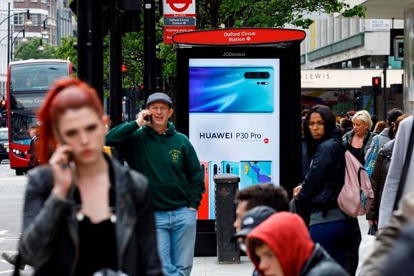 إعلان عن هواوي في وسط لندن