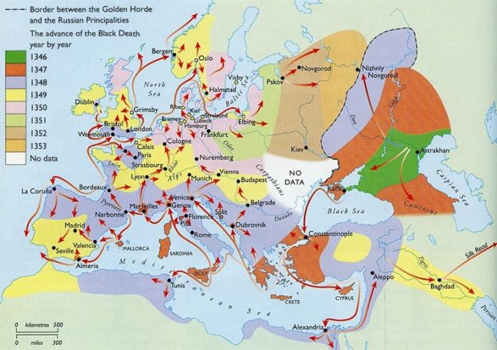 في منتصف القرن الرابع عشر، أخذ عدد سكان العالم في الإنخفاض بطريقة نادرة حيث مات ملايين الأشخاص بسبب وباء الطاعون الدبلي المميت