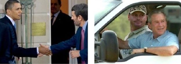صور مختلقة للرئيسين الأمريكيين جورج بوش وباراك أوباما