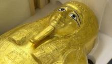 تابوت الكاهن المصري المرموق نجم عنخ خلال مؤتمر صحفي لإعلان إعادته لمصر في نيويورك يوم الأربعاء 25 سبتمبر 2019