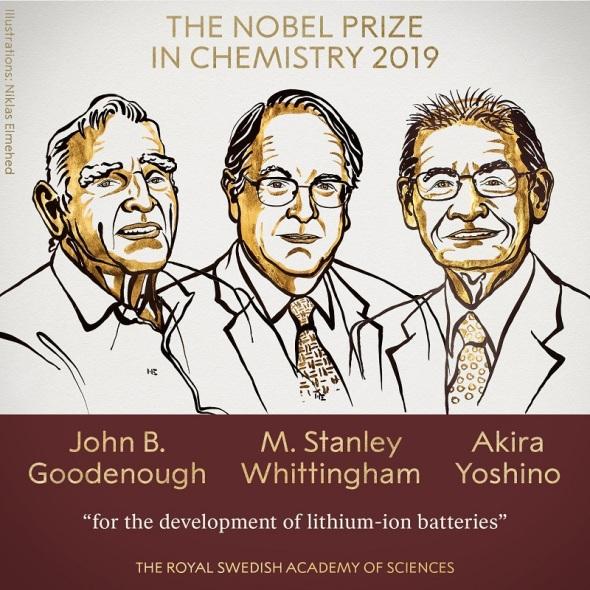 """منحت جائزة نوبل بريزي في الكيمياء لعام 2019 لجون ب. جودنوف ، ومان ستانلي ويتنجهام وأكيرا يوشينو """"لتطوير بطاريات ليثيوم أيون""""."""