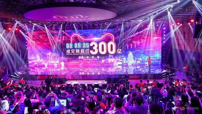 تظهر شاشة قيمة البضائع التي يتم تداولها خلال مهرجان التسوق العالمي 11.11 يوم العزاب لمجموعة علي بابا في مقر الشركة في هانجتشو بمقاطعة تشجيانغ