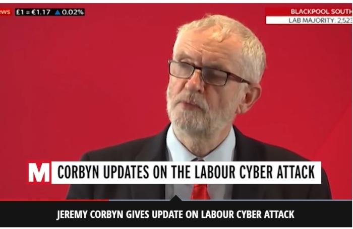 زعيم حزب العمال البريطاني جيرمي كوربين يدلي بتصريح عن الهجوم الإلكتروني