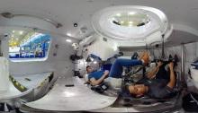 صورة من داخل كبسولة الفضاء ستارلاينر لشركة بوينج وهي مصممة لحمل حتي 7 رواد فضاء للمحطة الفضائية الدولية