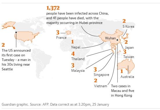 خريطة توضح الحالات التي تم فيها تأكيد الحالات في جميع أنحاء العالم