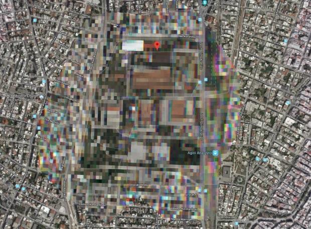 قاعدة أيوي أنارجيوري العسكرية بأثينا قامت خرائط جوجل بإخفاء معالمها