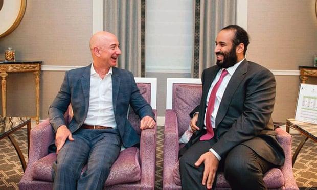 جيف بيزوس مع محمد بن سلمان أثناء زيارته للولايات المتحدة في مارس 2018