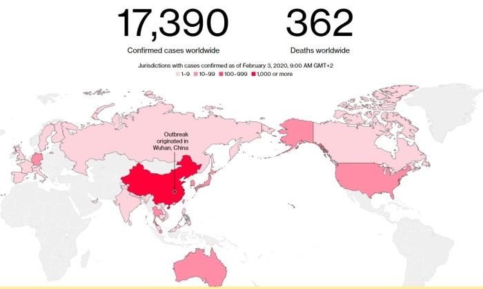 خريطة توضح انتشار فيروس كورونا عالميا يوم 3 فبراير 2020