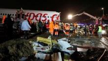 الطائرة التركية المنكوبة في مطار صبيحة كوكجن في اسطنبول يوم الأربعاء 5 فبراير 2020
