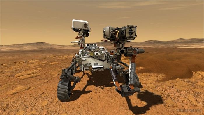 """يُظهر هذا الرسم التوضيحي السيارة الفضائية """"المثابرة"""" لوكالة ناسا والتي ستهبط على سطح المريخ بعد الساعة 3:40 مساءً بقليل بتوقيت شرق الولايات المتحدة في 18 فبراير 2021"""
