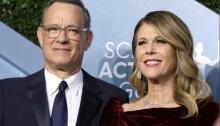 الممثل الأمريكي توم هانكس وزوجته ريتا ويلسون في كاليفورنيا يوم 19 يناير 2020