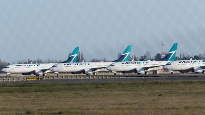 """طائرات شركة """"ويست جيت""""، ثاني أكبر شركة طيران في كندا، مرابضة في مطار فانكوفر الدولي بمقاطعة بريتيش كولومبيا"""