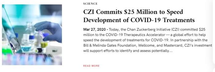 المؤسسة الخيرية لـ مارك زوكربيرج وزوجته أعلنت عن التبرع بمبلغ 20 مليون دولار للمساعدة في تطوير علاج لفيروس كورونا