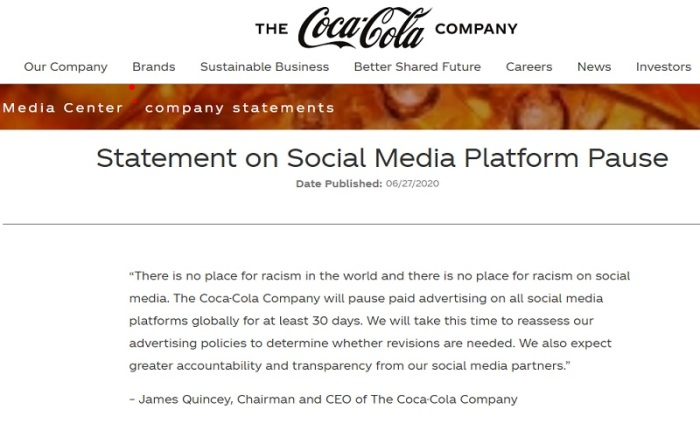 أعلنت شركة كوكاكولا وقف إعلاناتها علي شبكة فيسبوك بسبب عدم بذل جهد مقنع لوقف خطاب الكراهية