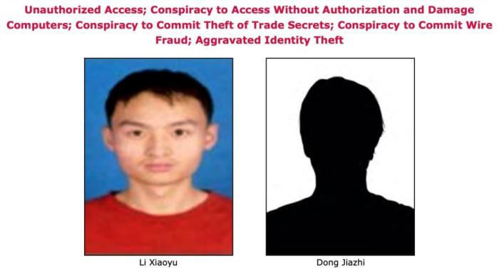 """يتهم مكتب التحقيقات الفدرالي القراصنة """"لي شياويو"""" و """"دونج جيازي"""" من الصين بأنهم سرقوا بيانات من شركات أدوية أمريكية وبريطانية"""