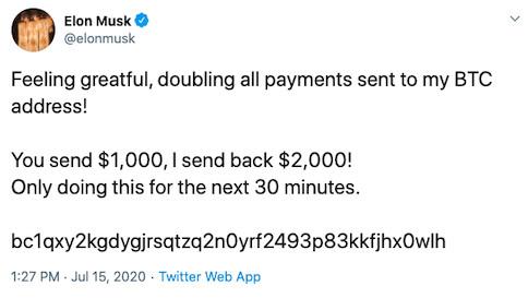 تغريدة احتيالية من حساب إيلون ماسك بعد اختراق إلكتروني لحسابات تويتر