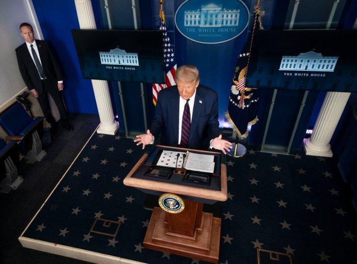 عقد الرئيس ترامب يوم الثلاثاء 21 يوليو 2020 أول مؤتمر صحفي متلفز حول فيروس كورونا منذ أن ألغي المؤتمرات الصحفية حول الفيروس في أواخر أبريل 2020