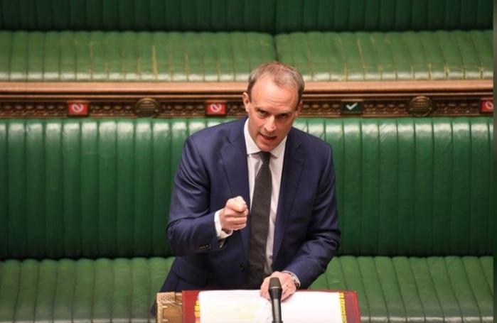 وزير الخارجية البريطاني دومينيك راب يتحدث امام البرلمان في لندن يوم 29 ابريل 2020