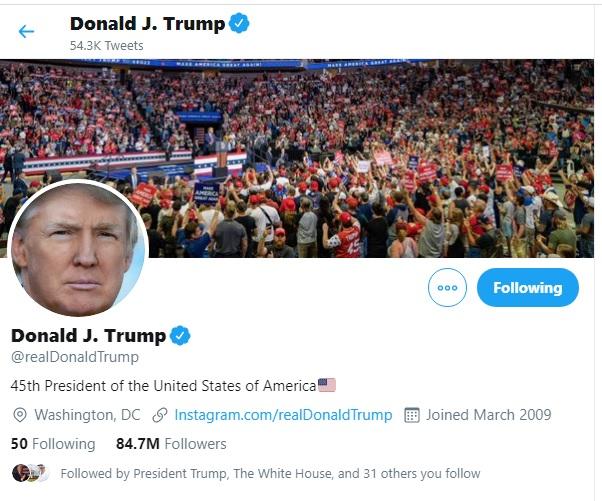 الحساب الشخصي للرئيس ترامب لديه أكثر من 84 مليون متابع