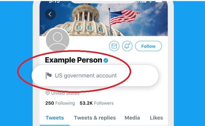 مثال للتنبيهات التي سوف تظهر علي تغريدات المؤسسات الإعلامية الحكومية