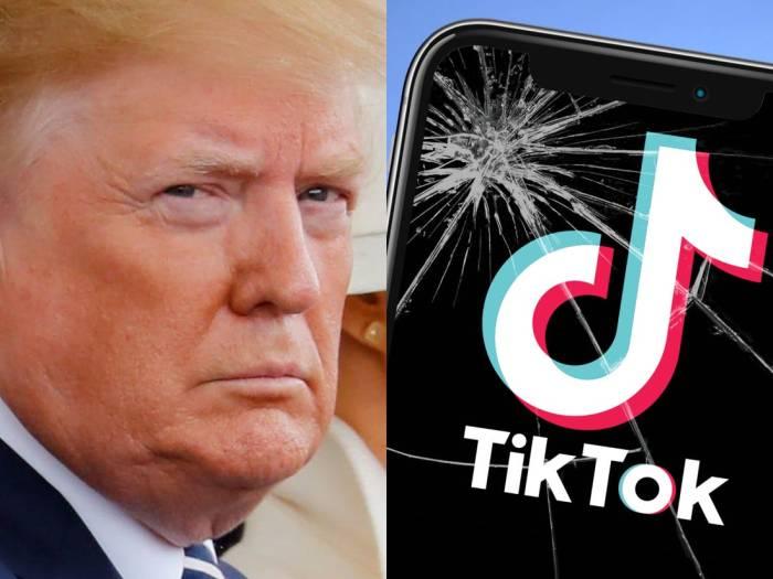 الرئيس ترامب بجانب شعار لتطبيق تيك توك