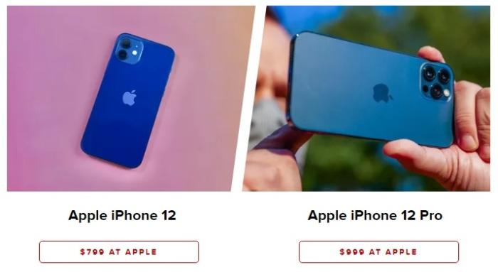صورة توضح الفرق بين الكاميرات في جهازي أيفون 12 و أيفون 12 برو