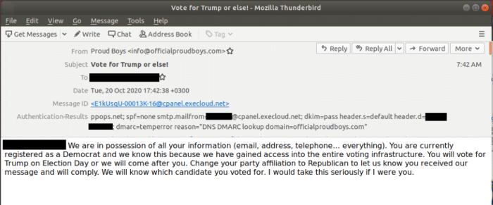 نموذج من الرسائل الإلكترونية التهديدية التي وصلت الي مؤيدي الحزب الديموقراطي الأمريكي