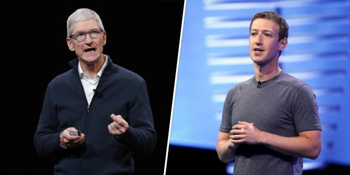 مارك زوكربيرج الرئيس التنفيذي لشركة فيسبوك والي اليسار تيم كوك الرئيس التنفيذي لشركة أبل