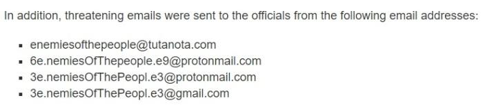 عناوين البريد الإلكتروني التي ارسلت رسائل تهديد للمسؤولين الأمريكيون
