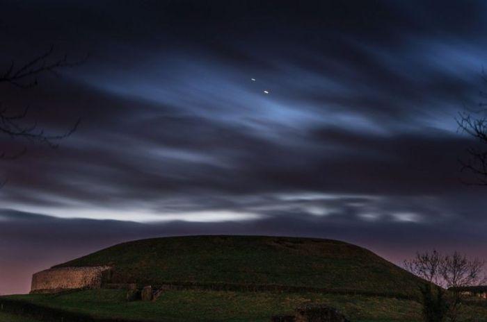 المشتري وزحل كما يظهران في صورة التقطت الأسبوع الماضي في مقاطعة ميث بأيرلندا