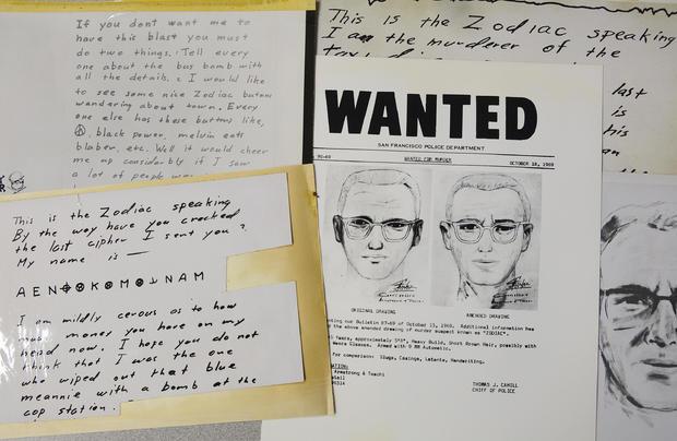 """ملف الصورة في 3 مايو 2018، قام قسم شرطة سان فرانسيسكو بنشر الرسائل المرسلة إلى صحيفة سان فرانسيسكو كرونيكل من قبل رجل أطلق على نفسه اسم """"زودياك"""""""