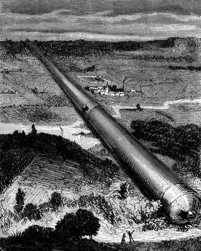 """رسم للمدفع العملاق الذي اسْتُخْدِمَ لإطلاق مركبة الفضاء """"كولومبيا"""" في رواية كتبها الروائي الفرنسي جول فيرن بشأن استكشاف القمر"""