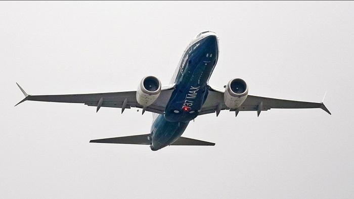صورة لطائرة بوينج 737 ماكس تقلع في رحلة تجريبية من بوينج فيلد في سياتل، 30 سبتمبر 2020