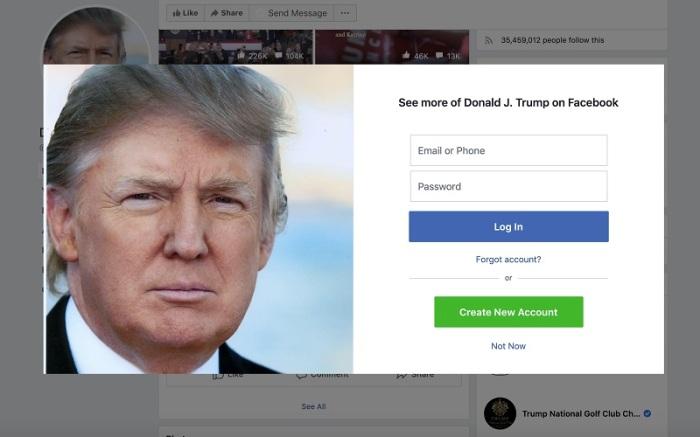 نافذة على فيسبوك تدعو المستخدم للانضمام إلى المنصة لقراءة المزيد من محتوى دونالد ترامب