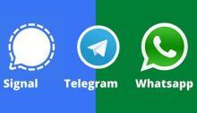 شعارات تطبيقات واتساب وتليجرام وسيجنال