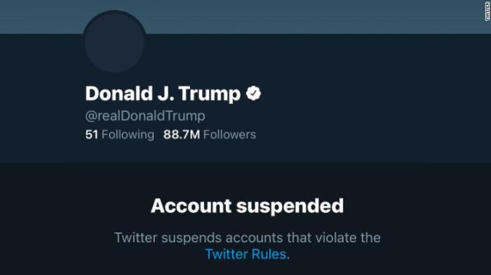 تم إيقاف حساب الرئيس الأمريكي ترامب بشكل دائم